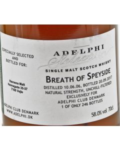 Adelphi Selection, Breath of Speyside 11 Years, 70 cl. 58%