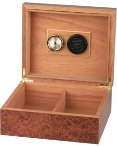 Cigar Humidor i burl wood finish til 25 cig
