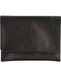 Tobaks pung i sort læder med tryk knapper