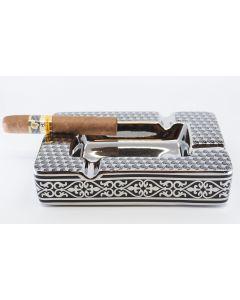 "Cigar askebæger i keramik ""ornaments"" sort/sølv"